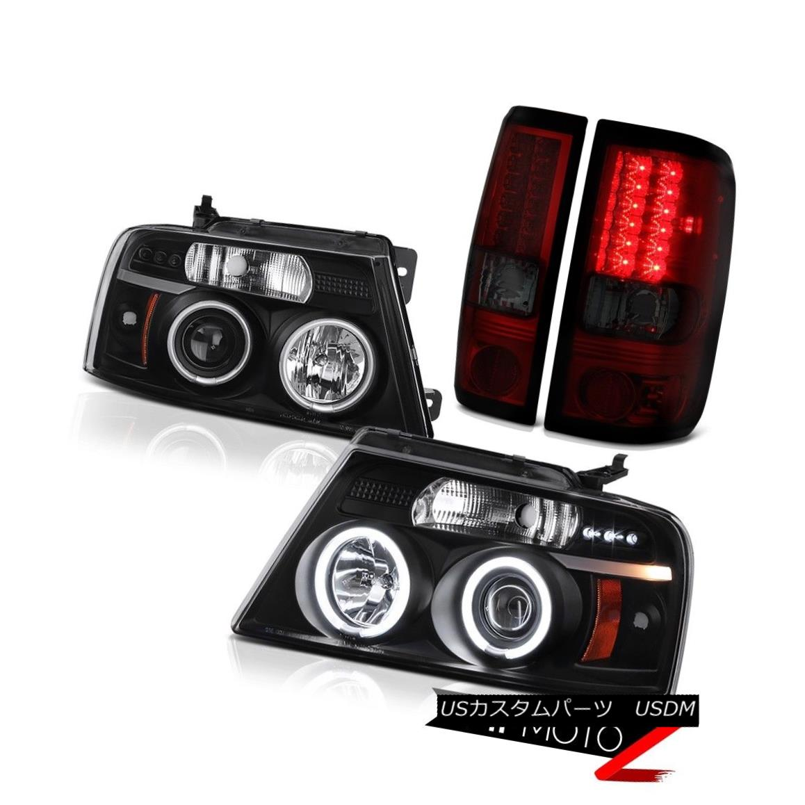 ヘッドライト 2004-2008 F150 PickUp WINE RED LED Brake Taillights Halo CCFL Power Headlights 2004-2008 F150 PickUpワインレッドLEDブレーキ灯台Halo CCFLパワーヘッドライト