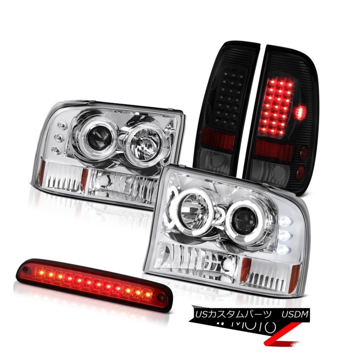 ヘッドライト 99-04 F350 Xlt Tail Brake Lights Chrome Projector Headlamps Red Clear 3RD Lamp 99-04 F350 Xltテールブレーキライトクロームプロジェクターヘッドランプレッドクリア3RDランプ