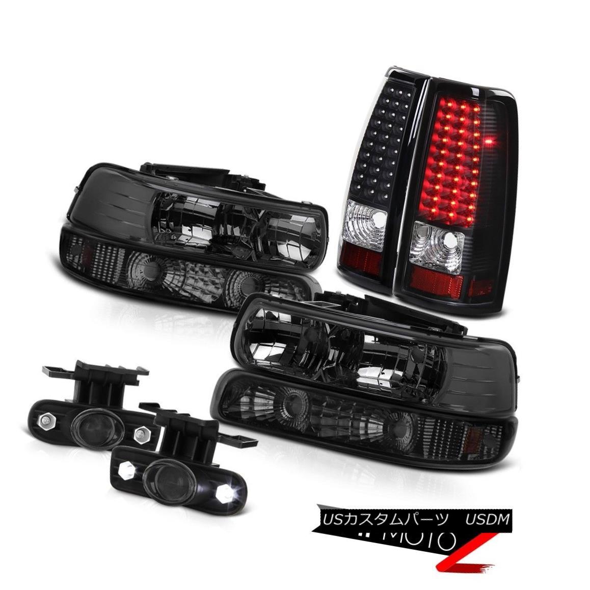 ヘッドライト 99-02 Silverado 6.0L 8.1 V8 Crystal Smoke Headlight Signal LED Projector DRL Fog 99-02 Silverado 6.0L 8.1 V8クリスタルスモークヘッドライト信号LEDプロジェクターDRLフォグ