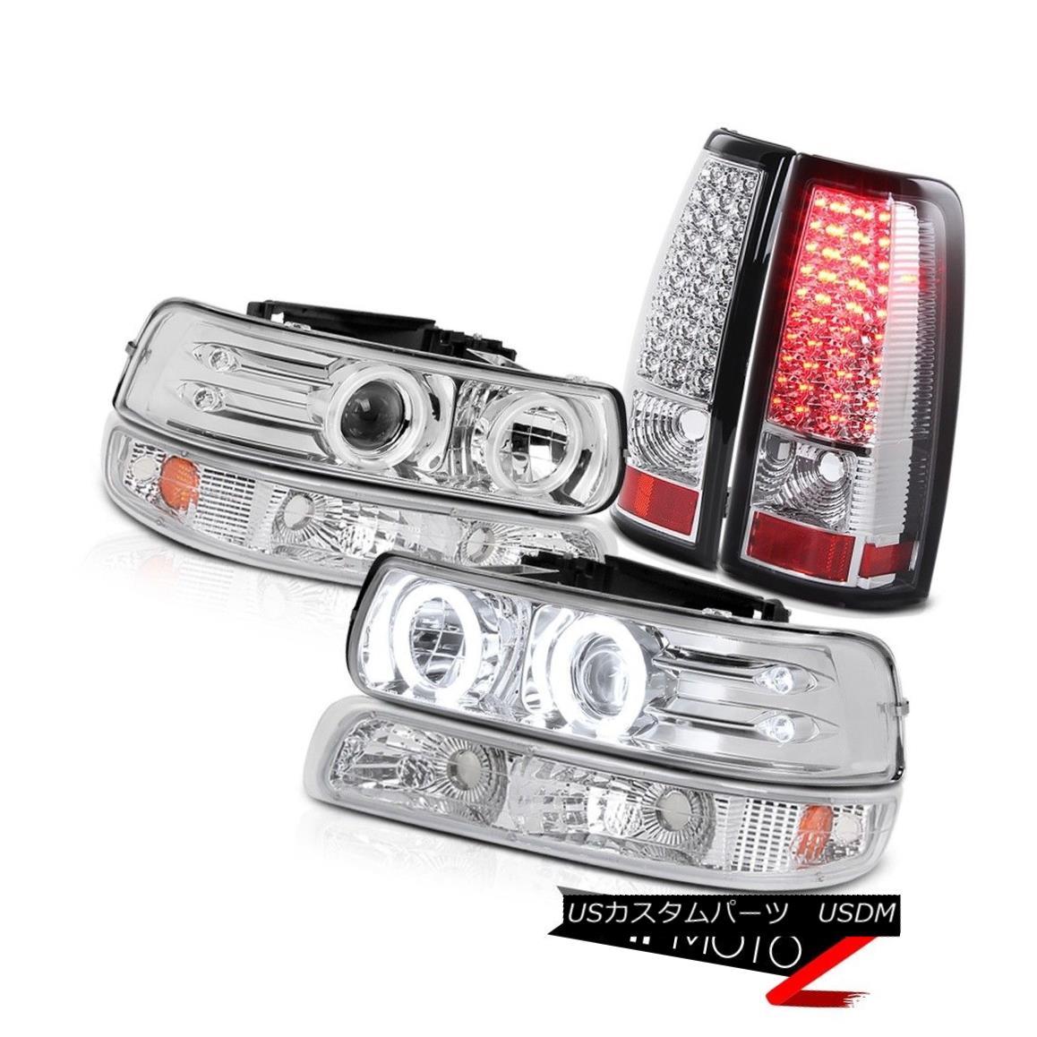 ヘッドライト BRIGHTEST CCFL! 1999-2002 Chevy Silverado Bumper Parking LED Headlight TailLamps 最も明るいCCFL! 1999-2002シボレーシルバラードバンパーパーキングLEDヘッドライトテールランプ