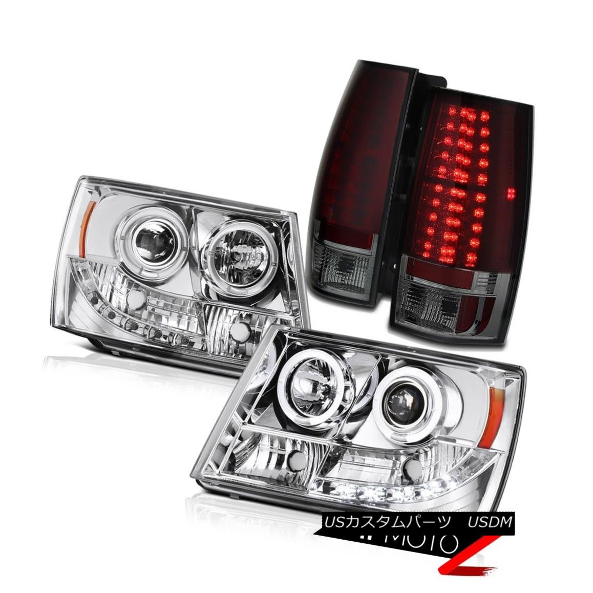ヘッドライト Suburban/Tahoe V8 07-13 Chrome Halo Projector Headlight+RED/SMOKE+LED Tail Light Suburban / Tahoe V8 07-13クロームハロープロジェクターヘッドライト+ RED /  SMOKE + LEDテールライト