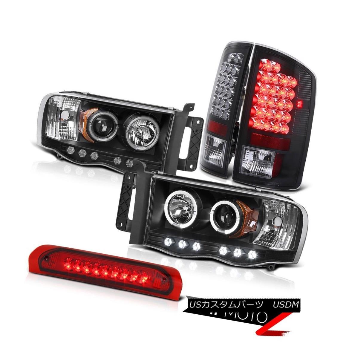 ヘッドライト 5PC COMBO Halo Projector Headlight+Black Led Tail Light+3rd Brake Lamp 02-05 RAM 5PC COMBOハロープロジェクターヘッドライト+ Blac  kテールライト+第3ブレーキランプ02-05 RAM