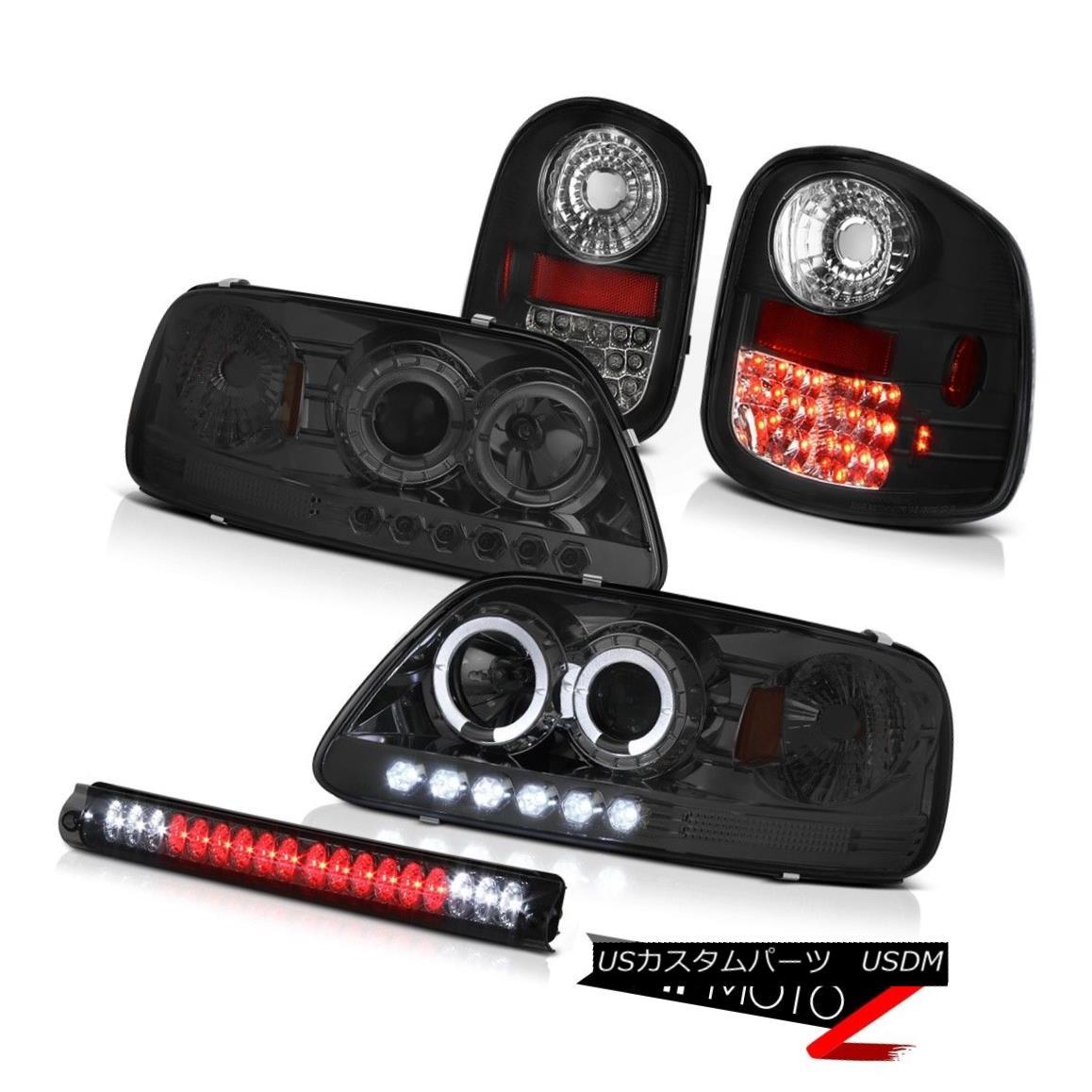 ヘッドライト Halo Rim Headlights Smoke SMD Taillights 3rd Cargo LED 97-03 Ford F150 Flareside ハローリムヘッドライトスモークSMDテールライト3番目の貨物LED 97-03 Ford F150 Flareside