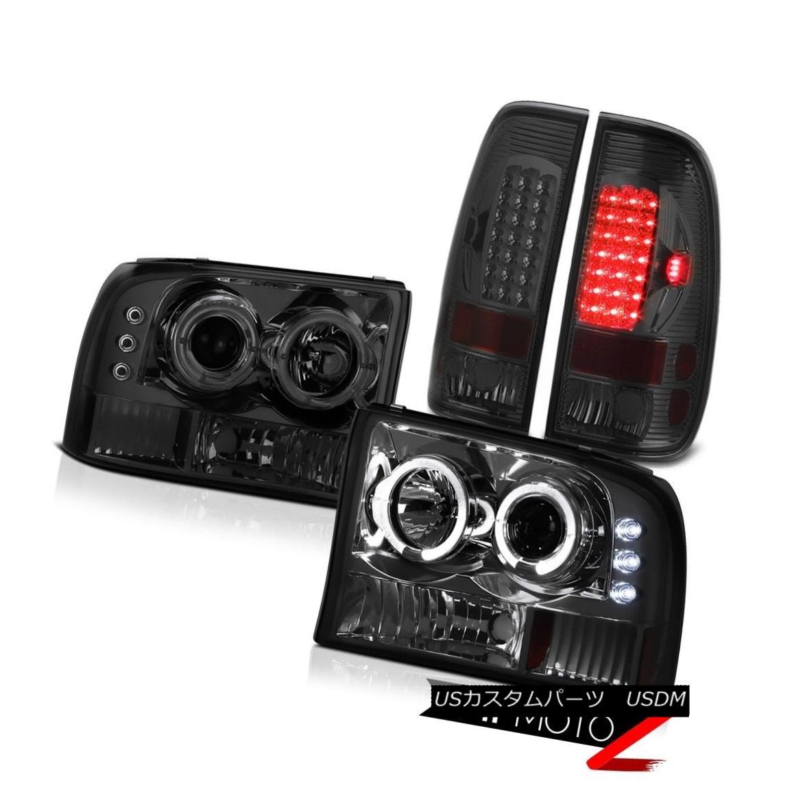 ヘッドライト 1PC Smoke Halo Projector Headlight+Corner Bmper+LED Tail Light 99-2004 Ford 1PCスモークハロープロジェクターヘッドライト+トウモロコシ er Bmper + LEDテールライト99-2004 Ford