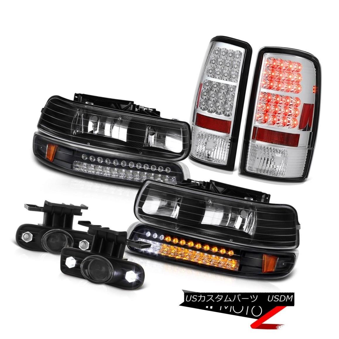 ヘッドライト 00 01 02 03 04 05 06 Tahoe 5.3L Pair Black Headlamps SMD Taillight Smoke Fog 00 01 02 03 04 05 06タホー5.3LペアブラックヘッドランプSMDテールライトスモークフォグ