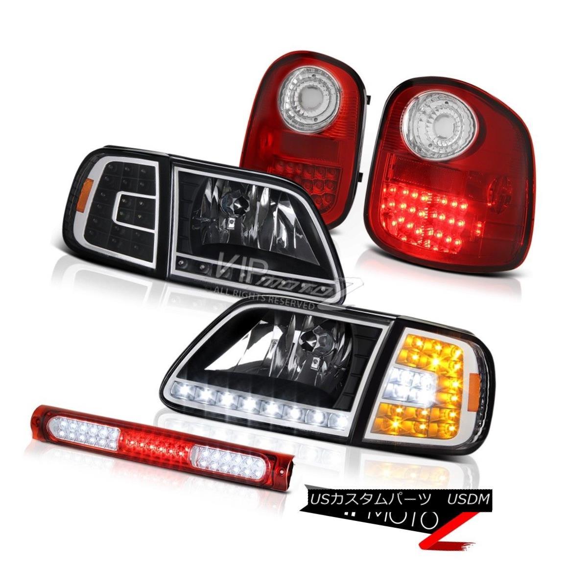 ヘッドライト Black SMD Headlamp LED Signal Red 3rd Brake 97-03 F150 Flareside Harley Davidson ブラックSMDヘッドランプLED信号レッド第3ブレーキ97-03 F150 Flareside Harley Davidson