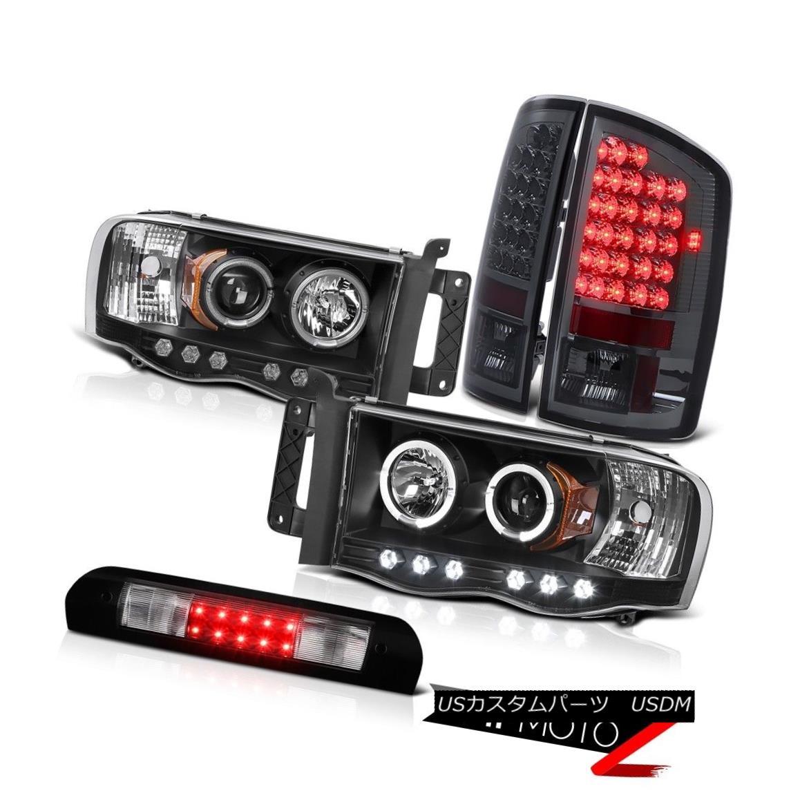 ヘッドライト Projector Black Headlights Smoke LED Tail Lights Brake 2002-2005 Ram TurboDiesel プロジェクターブラックヘッドライトスモークLEDテールライトブレーキ2002-2005 Ram TurboDiesel