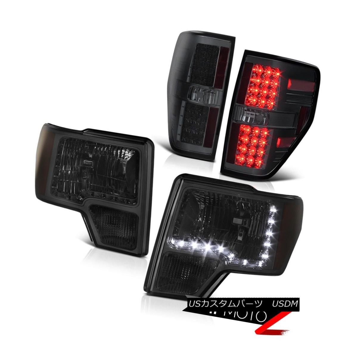 ヘッドライト Ford 09-14 F150 Smoke+Amber Diamond LED Headlamp+SMOKE LED Tail Light Brake Lamp フォード09-14 F150煙+琥珀ダイヤモンドLEDヘッドランプ+ SMOKE LEDテールライトブレーキランプ