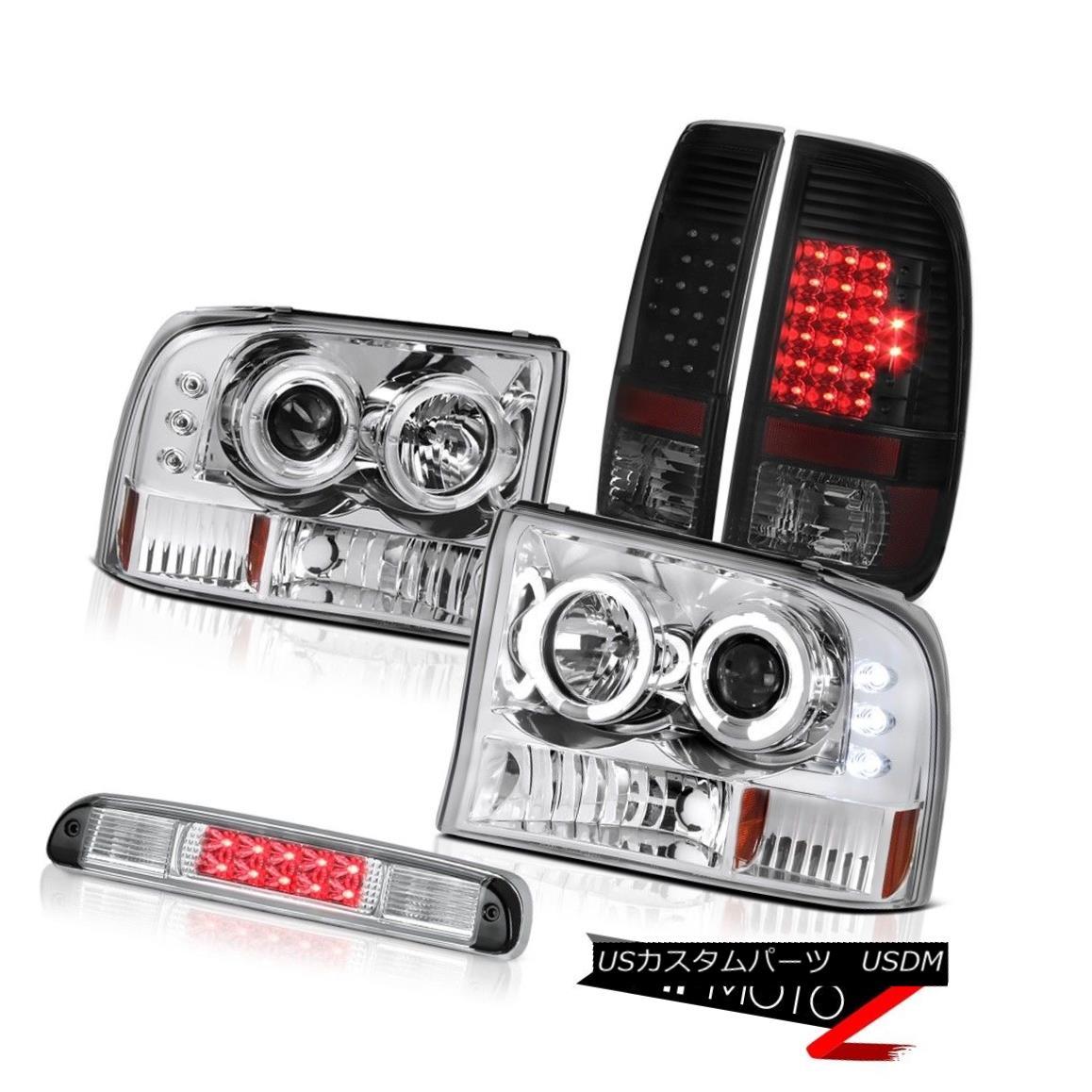 ヘッドライト Halo LED Headlamps Sinister Black Taillights Third Brake Cargo 99-04 F250 6.8L Halo LEDヘッドランプ灰色の曇り灯3番目のブレーキ貨物99-04 F250 6.8L