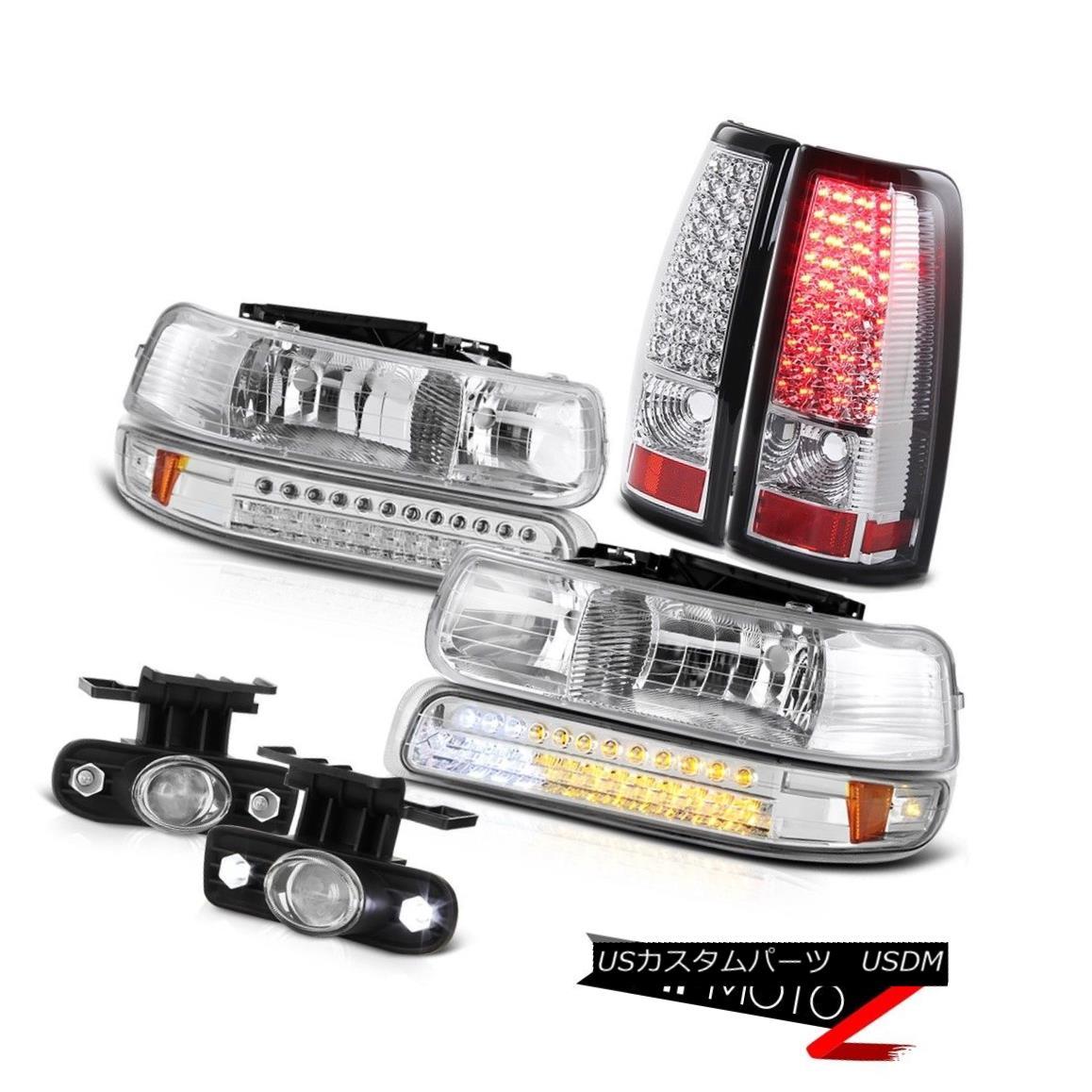 ヘッドライト Pair Chrome Headlights LED Taillights Halo Projector Fog 99-02 Silverado 4.3L V6 ペアクロームヘッドライトLEDテールライトハロープロジェクターフォグ99-02 Silverado 4.3L V6