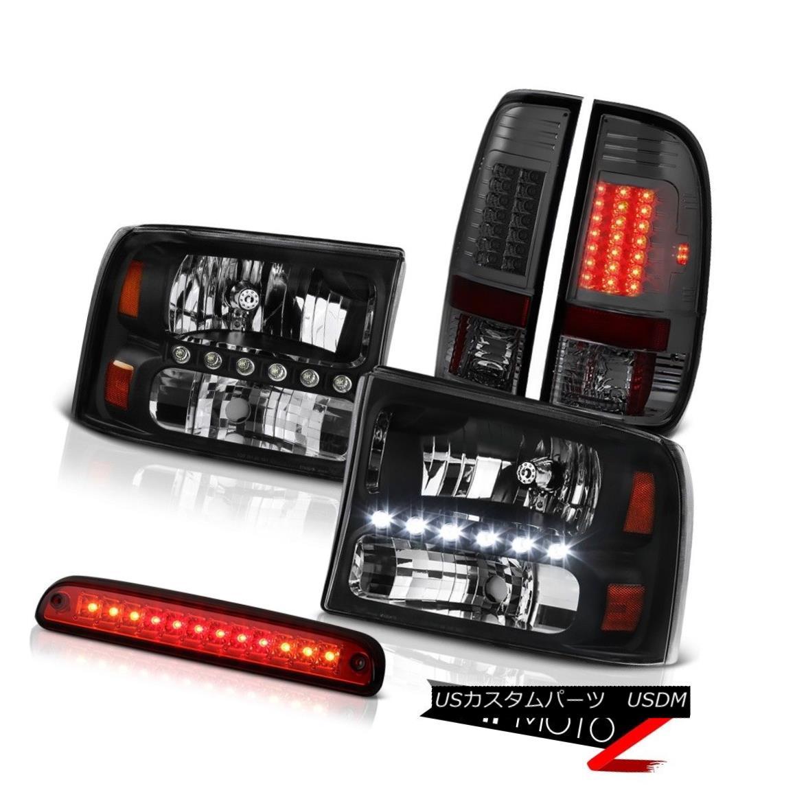 ヘッドライト Black Headlamps High Brake Cargo LED Tinted Lights 99-04 F250 Harley Davidson ブラックヘッドランプハイブレーキカーゴLEDトライトライト99-04 F250ハーレーダビッドソン