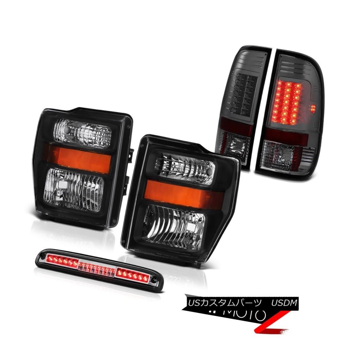 ヘッドライト Black Headlamps High Stop LED Chrome Dark Brake Tail Lights 08 09 10 F350 5.4L ブラックヘッドランプハイストップLEDクロームダークブレーキテールライト08 09 10 F350 5.4L