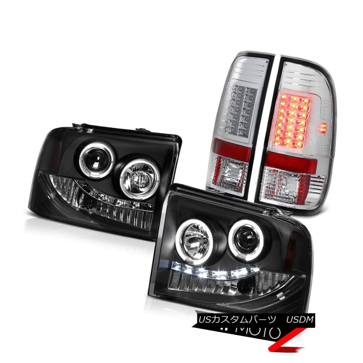 ヘッドライト 2005-2007 Ford F250 Powerstroke Lariat DRL Angel Eye Headlight+SMD LED Taillight 2005-2007フォードF250パワーストロークラリアートDRLエンジェルアイヘッドライト+ SMD LEDテールライト