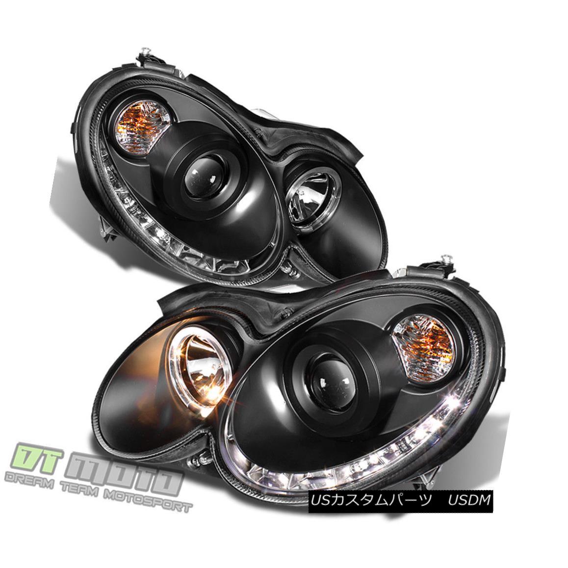 ヘッドライト Black 2003-2009 Mercedes Benz W209 Projector Headlights w/ LED DRL Running Light ブラック2003-2009メルセデスベンツW209プロジェクターヘッドライトLED DRLランニングライト