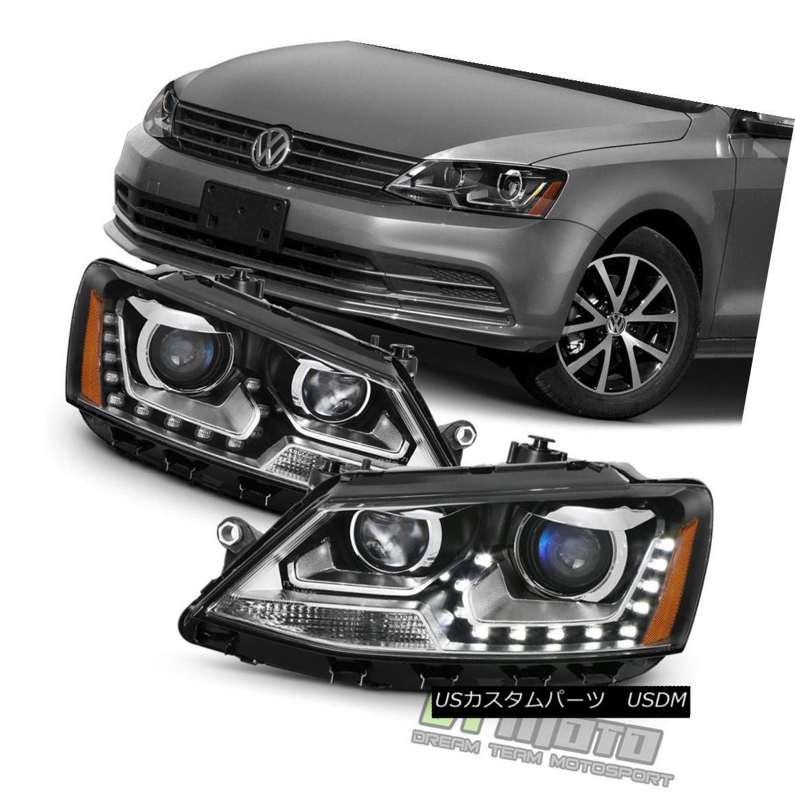 ヘッドライト Halogen Model 2011-2017 VW Jetta Sedan LED U-Shape DRL Projector Blk Headlights ハロゲンモデル2011-2017 VWジェッタセダンLED U字型DRLプロジェクターBLKヘッドライト