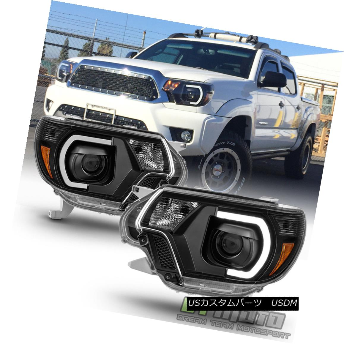 ヘッドライト Black 2012 2013 2014 2015 Toyota Tacoma LED DRL Light Tube Projector Headlights ブラック2012 2013 2014 2015トヨタタコマLED DRLライトチューブプロジェクターヘッドライト