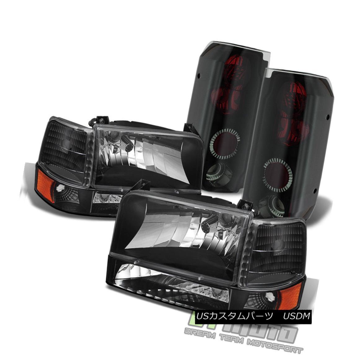 ヘッドライト 1992-1996 Ford F150 F250 Bronco Headlights+Bumper Corner+Black Smoke Tail Lamps 1992-1996 Ford F150 F250ブロンコヘッドライト+ブーン コーナー+ブラックスモークテールランプ