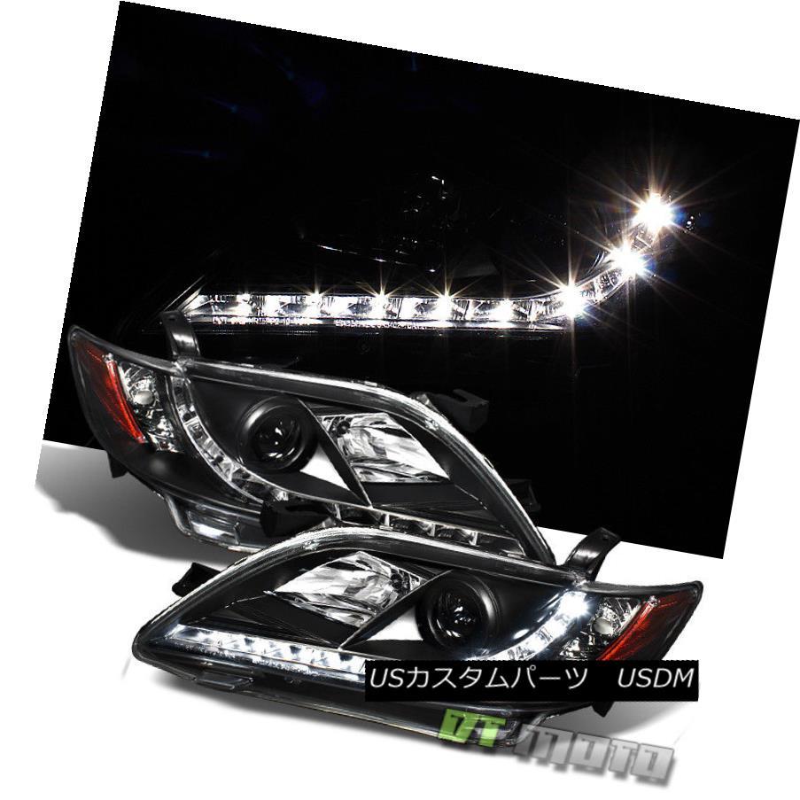 ヘッドライト Black 2007-2009 Toyota Camry Projector Headlights w/LED DRL Daytime Running Lamp ブラック2007-2009トヨタカムリプロジェクターヘッドライト(LED DRLデイタイムランニングランプ付)