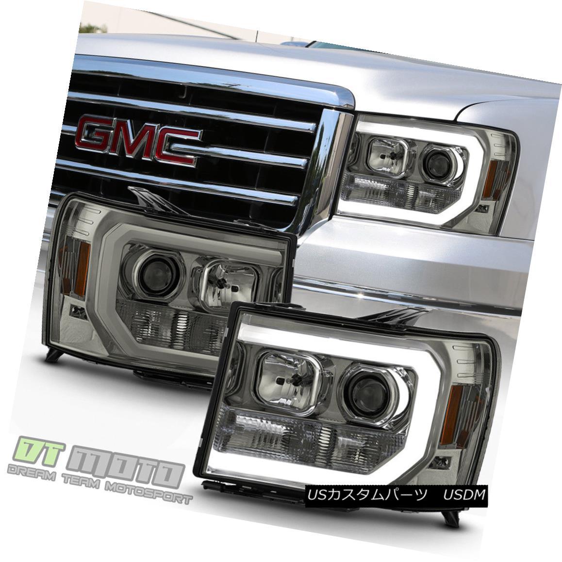 ヘッドライト Smoked 2007-2013 GMC Sierra 1500 2500 3500HD LED OPTIC Tube Projector Headlights スモーク2007-2013 GMC Sierra 1500 2500 3500HD LEDオプティカルチューブプロジェクターヘッドライト
