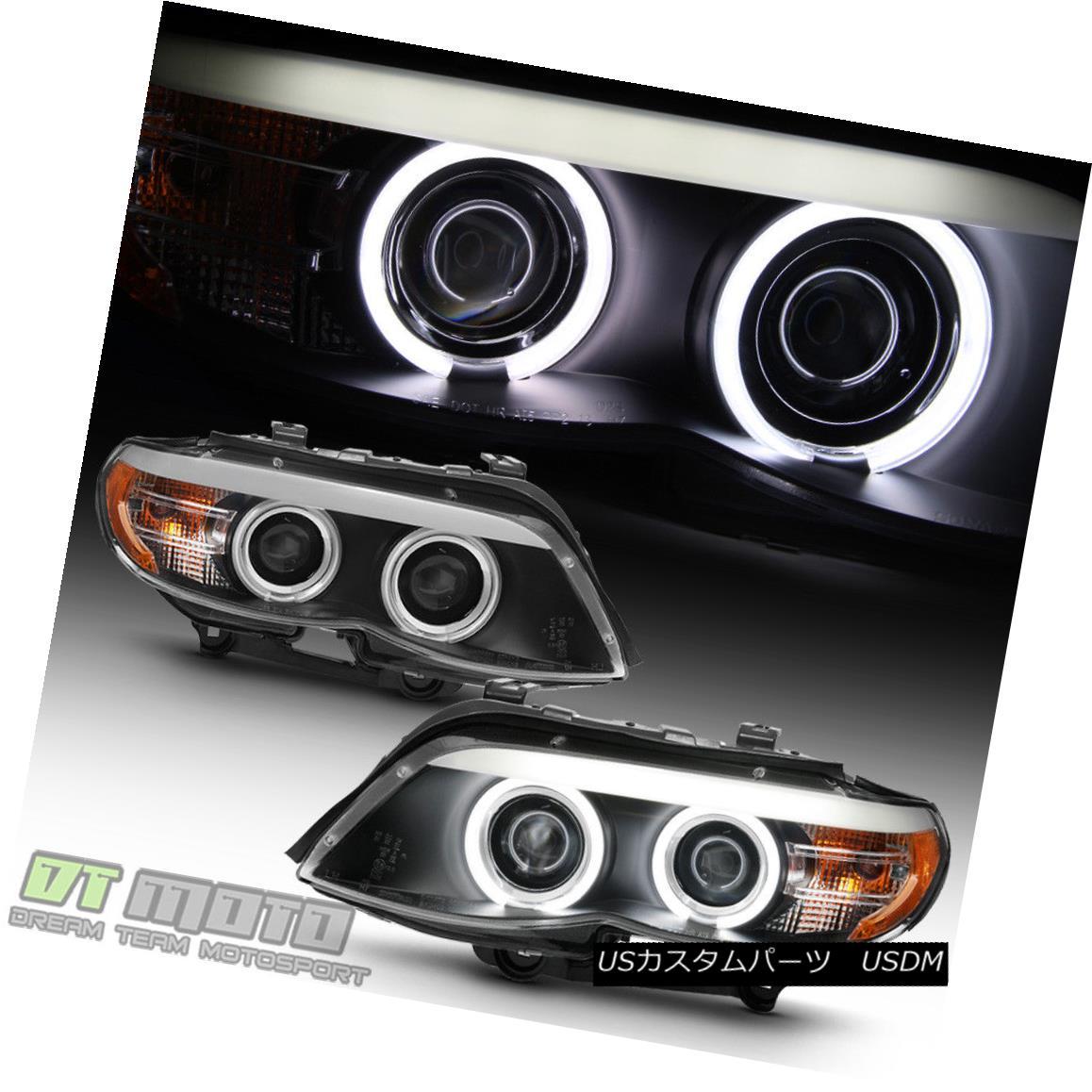ヘッドライト Black 2004-2006 BMW E53 X5 LED CCFL Angel Eye DRL Projector Headlights Headlamps ブラック2004-2006 BMW E53 X5 LED CCFLエンジェルアイDRLプロジェクターヘッドライトヘッドランプ