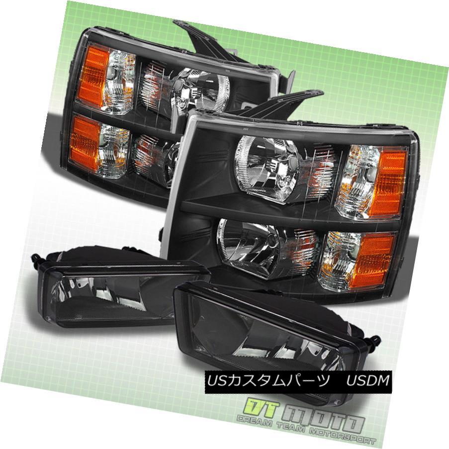 ヘッドライト 2007-2013 Chevy Silverado Black Headlights +Smoked Fog Lamps Left+Right 07-13 2007-2013シボレーシルバラードブラックヘッドライト+スモークフォグランプ左+右07-13