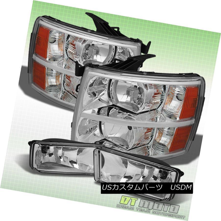ヘッドライト 2007-2013 Chevy Silverado Headlights +Bumper Fog Lamps Driver+Passenger 07-13 2007年?2013年シボレーシルバラードヘッドライト+バンパーフォグランプドライバー+パッセンジャー er 07-13