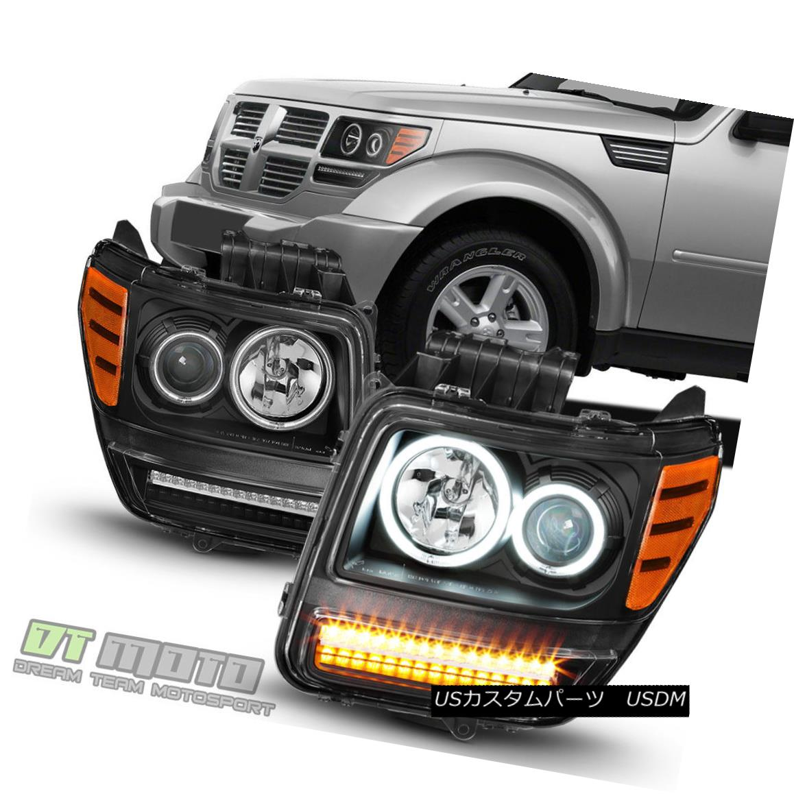 ヘッドライト Blk 2007-2012 Dodge Nitro LED Signal Parking Dual CCFL Halo Projector Headlights Blk 2007-2012 Dodge Nitro LEDシグナルパーキングデュアルCCFL Haloプロジェクターヘッドライト