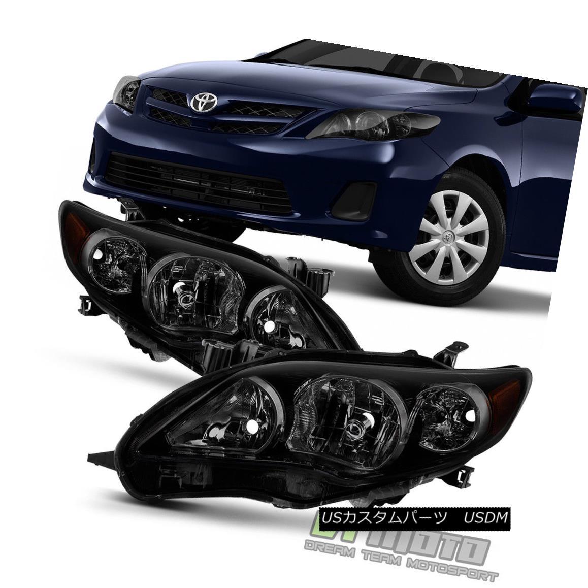 ヘッドライト Black Housing Smoke Lens 2011 2012 2013 Toyota Corolla Headlights Headlamps Pair ブラックハウジングスモークレンズ2011 2012 2013トヨタカローラヘッドライトヘッドランプペア