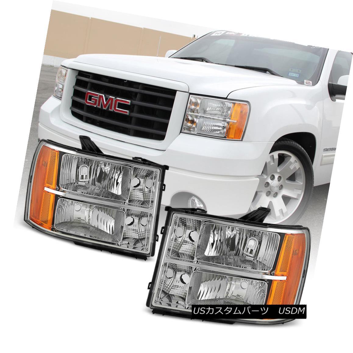 ヘッドライト 2007-2013 GMC Sierra 1500 2500HD 3500HD Crystal Headlights Headlamps Left+Right 2007-2013 GMC Sierra 1500 2500HD 3500HDクリスタルヘッドライトヘッドランプ左+右