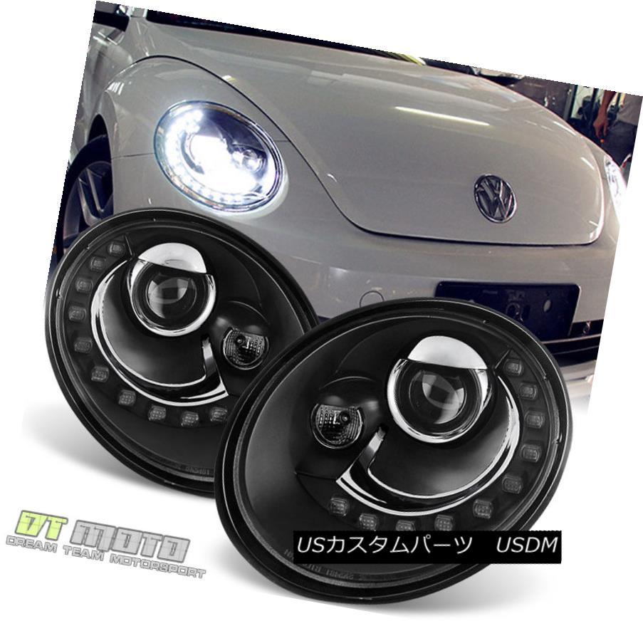 ヘッドライト 2006-2010 VW Beetle Projector Headlights w DRL LED Running Light Pair Left Right 2006-2010 VWビートルプロジェクターヘッドライト DRL LED付き