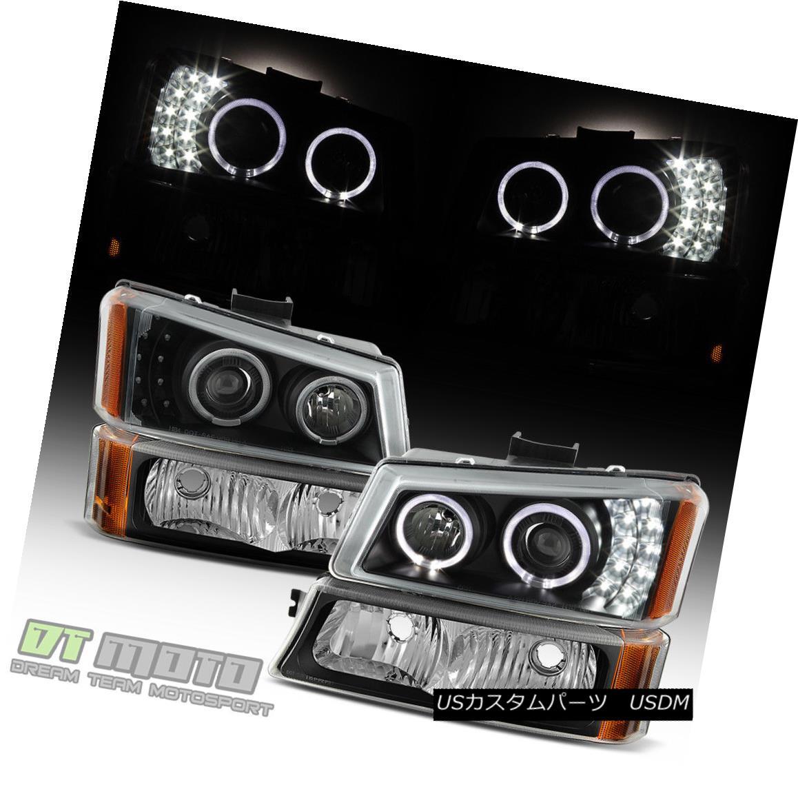 ヘッドライト Black 2003-2006 Chevy Silverado 1500 LED Halo Projector Headlights+Bumper Lights ブラック2003-2006シボレーシルバラード1500 LEDハロープロジェクターヘッドライト+ブーム