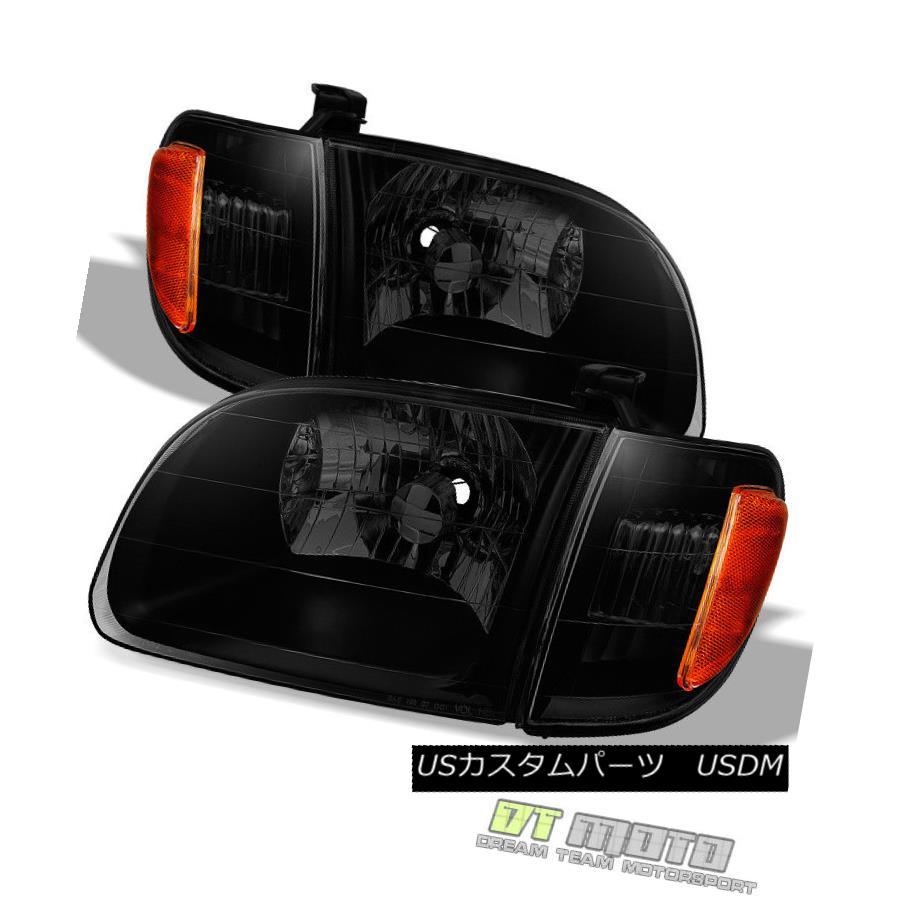 ヘッドライト Black Smoke 2000-2004 Toyota Tundra Regula/Access Cab Headlights w/ Corner Lamps ブラックスモーク2000-2004トヨタツンドラレギュラ/コーナーランプ付きアクセスキャブヘッドライト