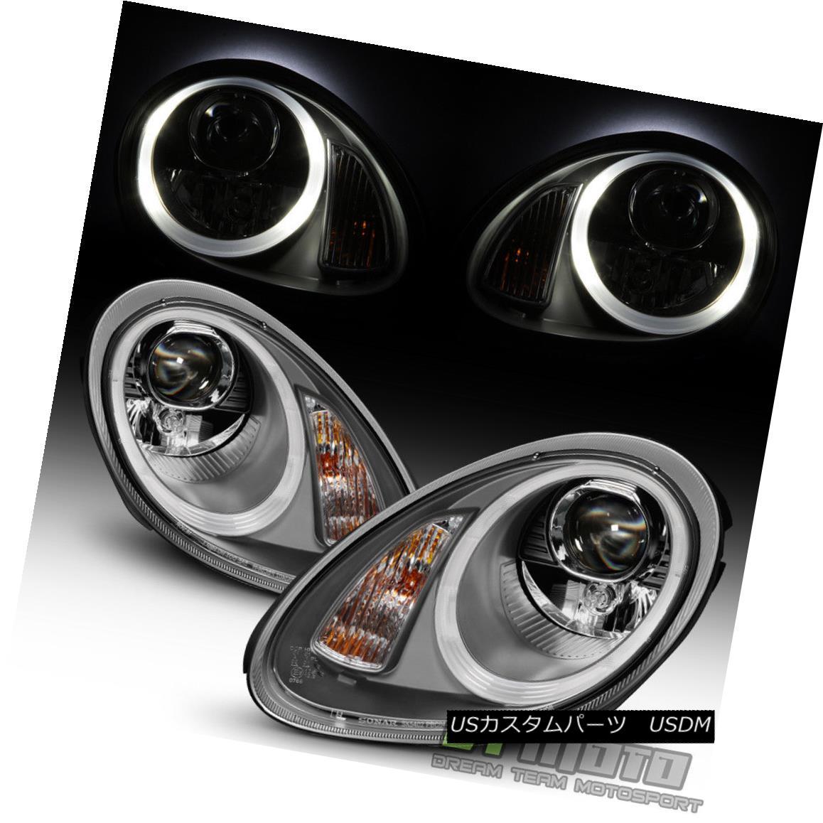 ヘッドライト Gray 2005-2008 Porsche Boxster 987 Cayman Halogen LED DRL Projector Headlights Grey 2005-2008 Porsche Boxster 987 CaymanハロゲンLED DRLプロジェクターヘッドライト