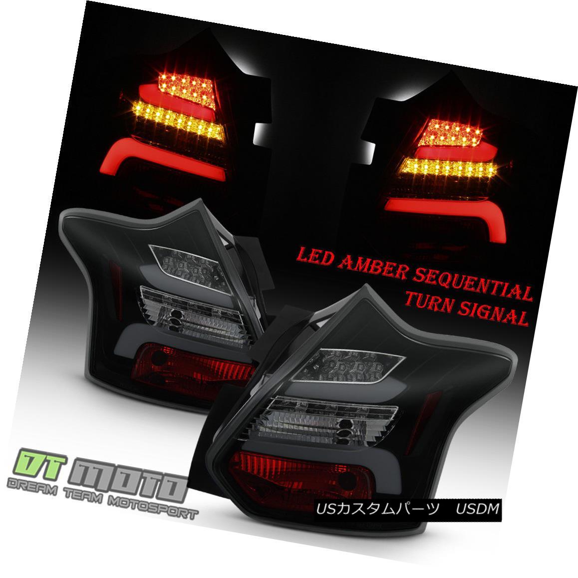 ヘッドライト Black Smoke 2012-2014 Ford Focus Hatchback SEQUENTIAL LED Tube Tail Lights Lamps ブラックスモーク2012-2014フォードフォーカスハッチバック逐次LEDチュー