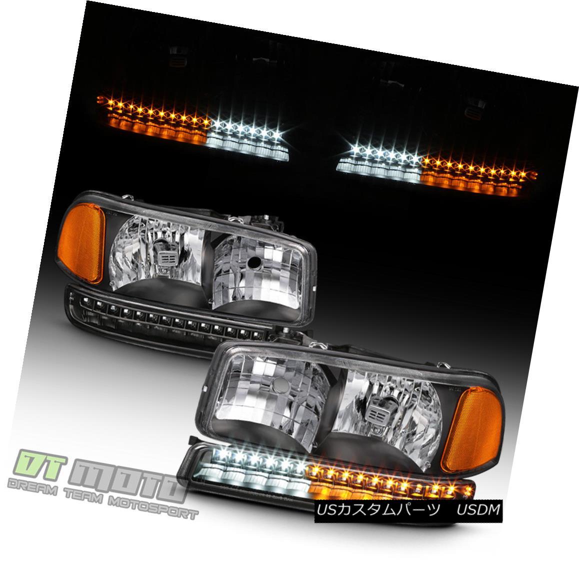 ヘッドライト Black 1999-2006 GMC Sierra Yukon XL Headlights LED Parking Bumper Signal Lights ブラック1999-2006 GMC Sierra Yukon XLヘッドライトLEDパーキングバンパー信号灯