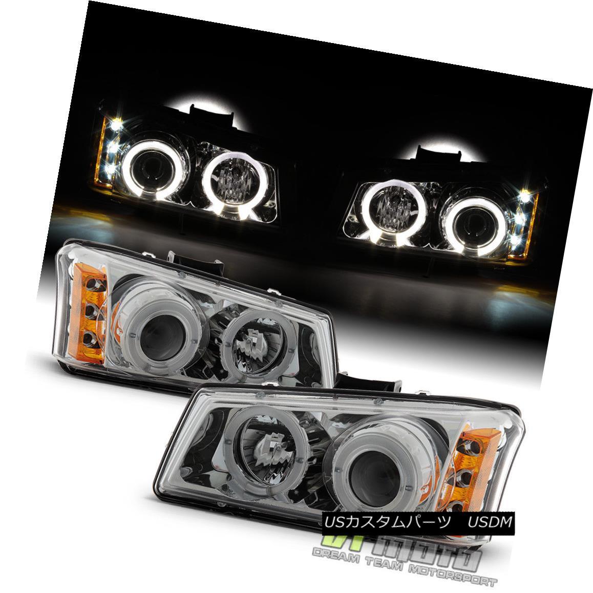 ヘッドライト 2003-2006 Chevy Silverado Avalanche LED Halo Projector Headlights Set Left+Right 2003年?2006年シボレーシルバラードアバランチェLEDハロープロジェクターヘッドライトセット左+右