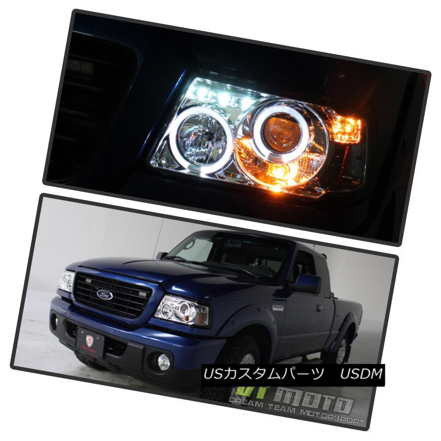 ヘッドライト 2001-2011 Ford Ranger LED Dual Halo Projector Headlights w/Built In Corner Lamps 2001?2011年フォードレンジャーLEDコーナーランプ内蔵のデュアルヘイロープロジェクターヘッドライト