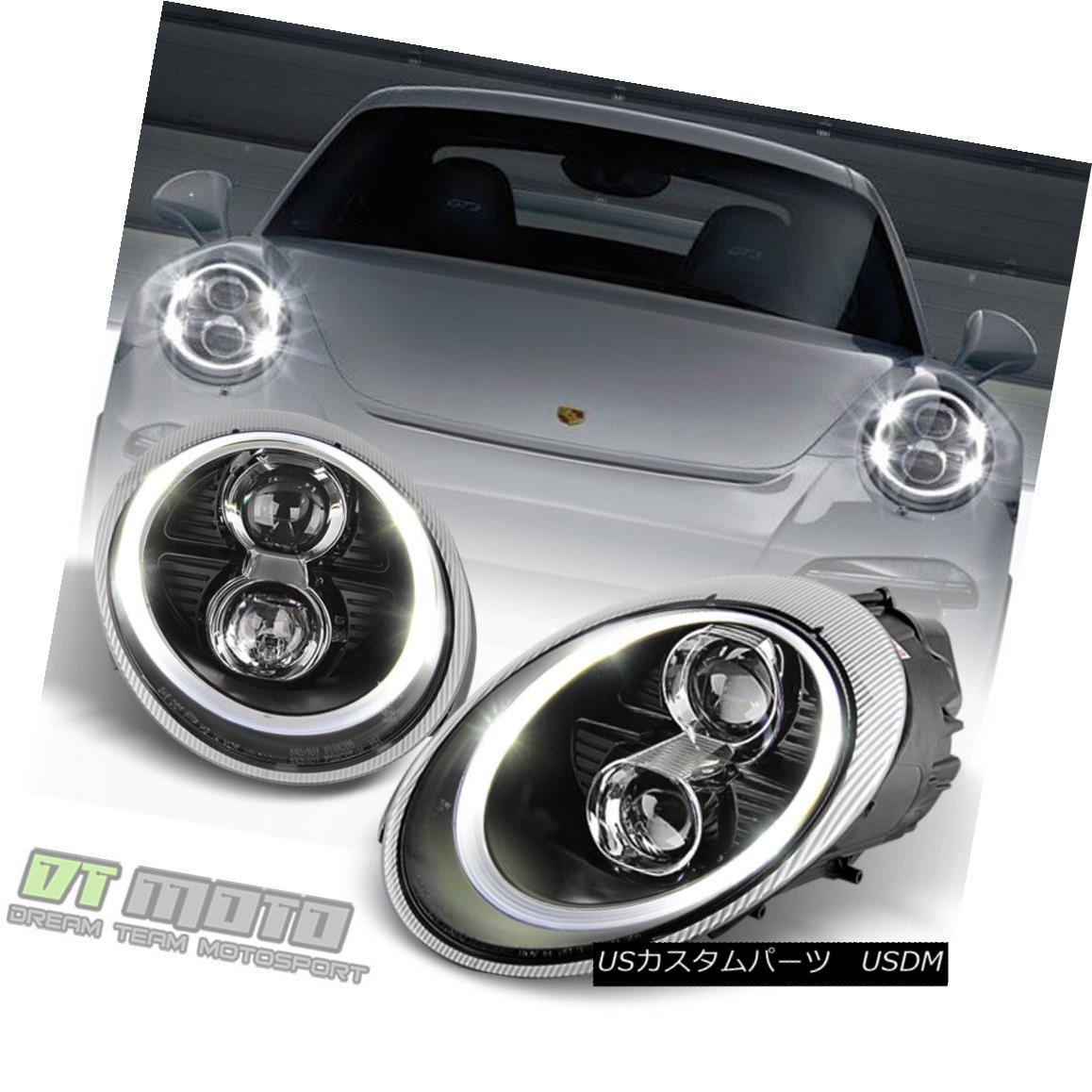 ヘッドライト Black 05-09 Porsche 911 997.1 Carrera LED DRL Projector Headlights Fit Halogen ブラック05-09ポルシェ911 997.1カレラLED DRLプロジェクターヘッドライトフィットハロゲン