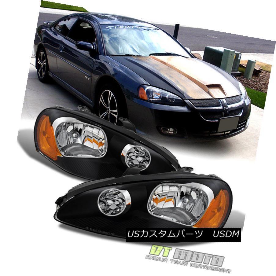ヘッドライト Black 2003-2005 Dodge Stratus Coupe Headlights Headlamps Replacement Left+Right 黒2003年から2005年のダッジStratusクーペヘッドライトヘッドライト交換左+右