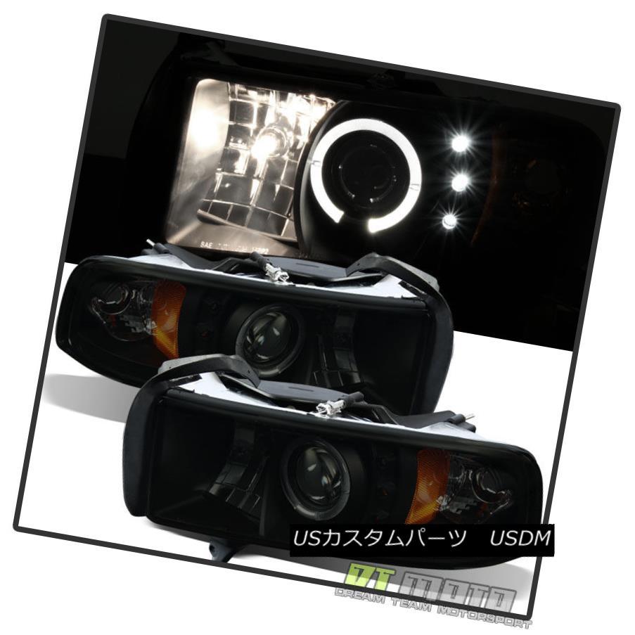 ヘッドライト Black Smokes 1994-2001 Dodge Ram Halo Projector LED Headlights Left+Right 94-01 Black Smokes 1994-2001 Dodge Ram HaloプロジェクターLEDヘッドライトLeft + Right 94-01