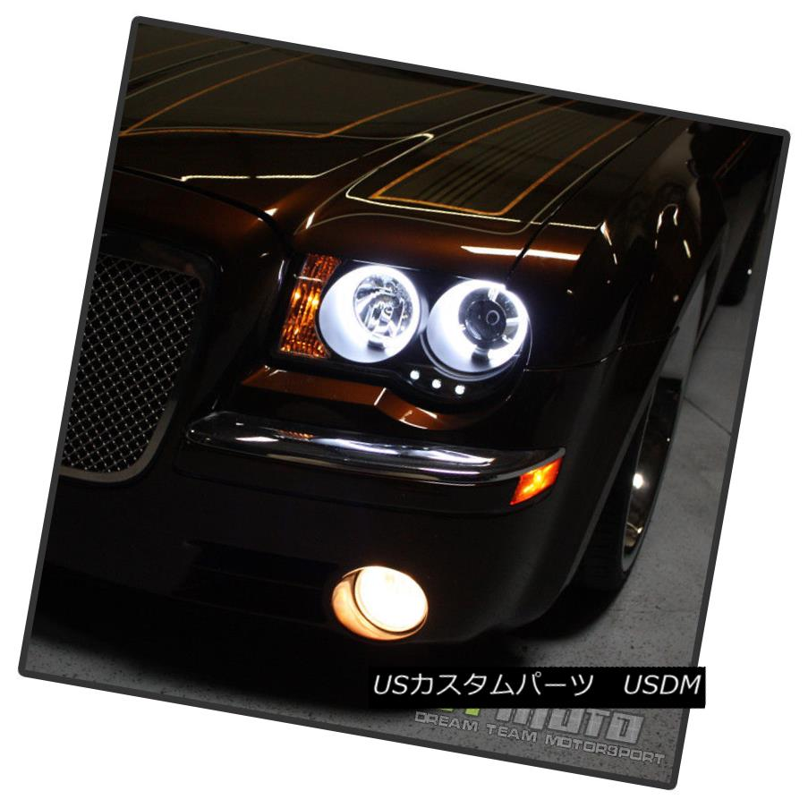2005-2010 Chrysler 300C SMD LED Smoke Lens Projector Headlights Glossy Black