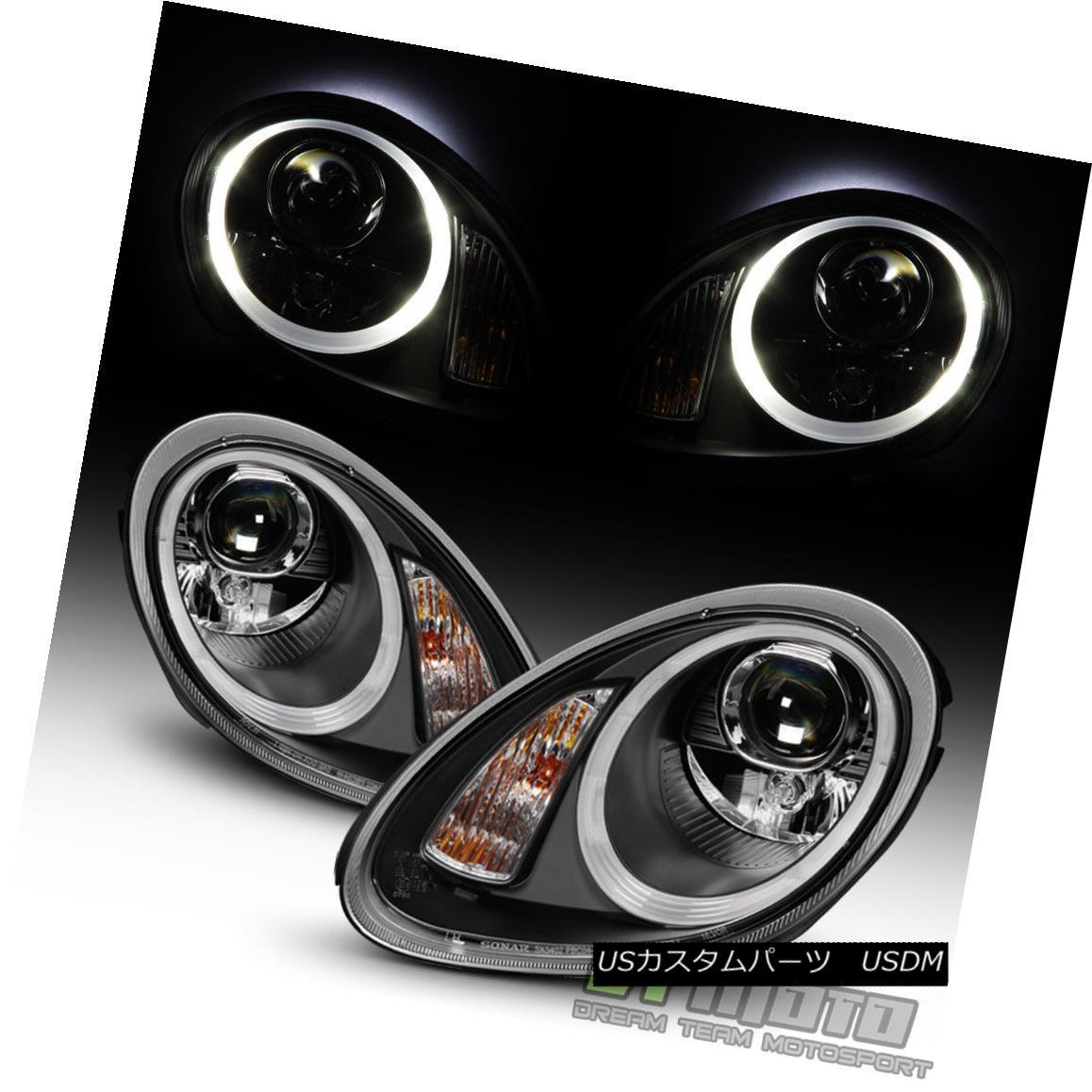 ヘッドライト Black 2005-2008 Porsche Boxster 987 Cayman Halogen LED Tube Projector Headlights ブラック2005-2008ポルシェボクスター987ケイマンハロゲンLEDチューブプロジェクターヘッドライト