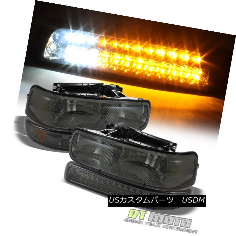ヘッドライト Smoke 99-02 Chevy Silverado 00-06 Suburban Headlights w/ LED Bumper Signal Lamps Smoke 99-02 Chevy Silverado 00-06郊外型ヘッドライト(LEDバンパーシグナルランプ付)