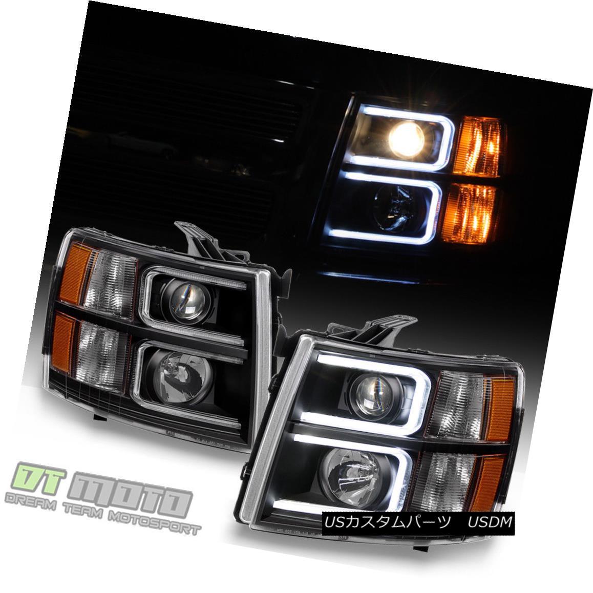 ヘッドライト Black 2007-2013 Chevy Silverado OPTIC LED Projector Headlights Left+Right 07-13 ブラック2007-2013シボレーシルバラードOPTIC LEDプロジェクターヘッドライト左+右07-13