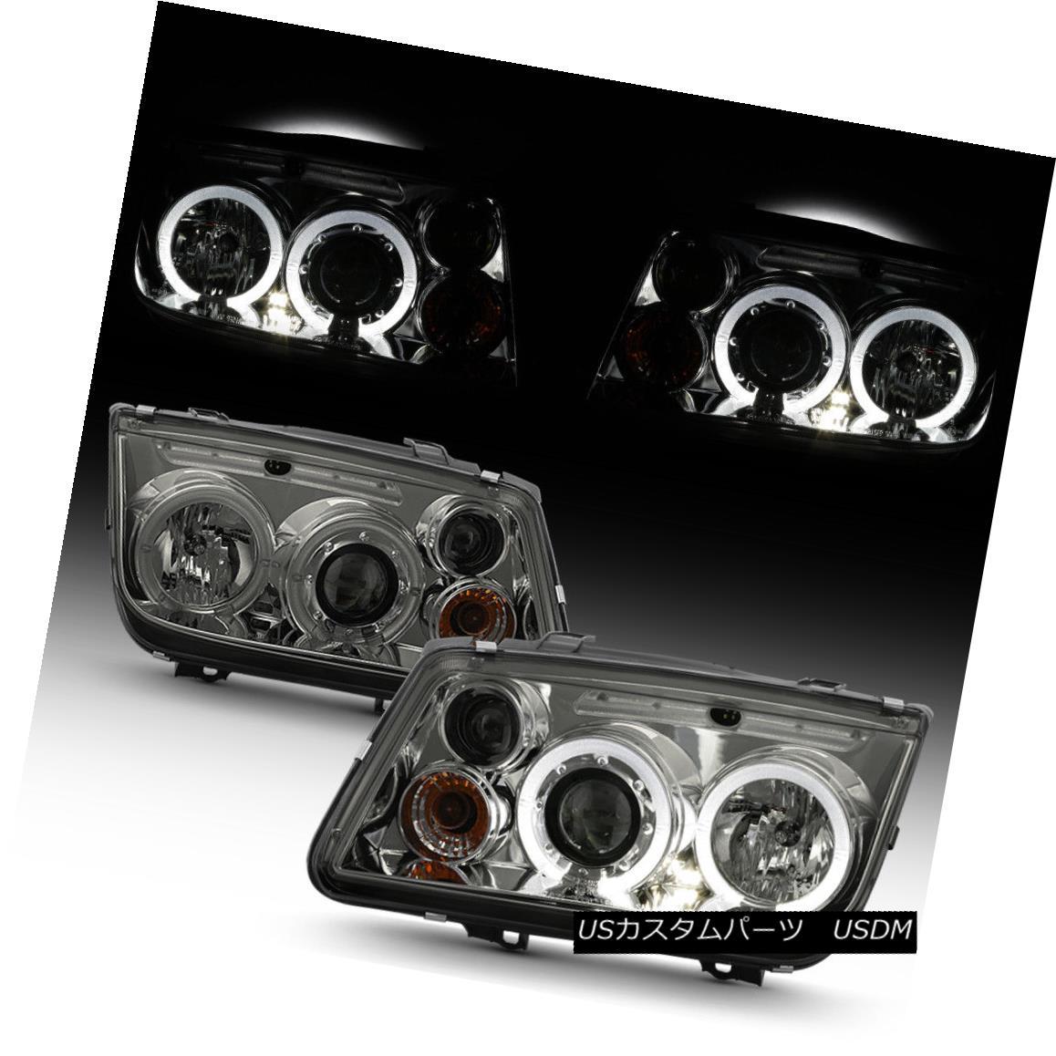 ヘッドライト Smoked 1999-2005 VW Jetta MK4 LED Halo Projector Headlights Headlamps Left+Right スモーク1999-2005 VWジェッタMK4 LEDハロープロジェクターヘッドライトヘッドランプ左+右