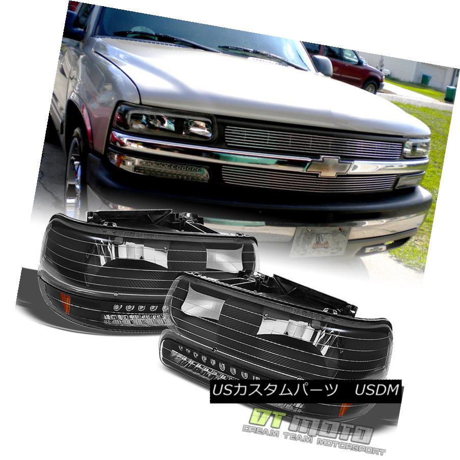 ヘッドライト Black 1999-2002 Chevy Silverado 00-06 Suburban Tahoe Headlights+LED Bumper Lamps ブラック1999-2002シボレーシルバラード00-06郊外のタホヘッドライト+ LEDバンパーランプ