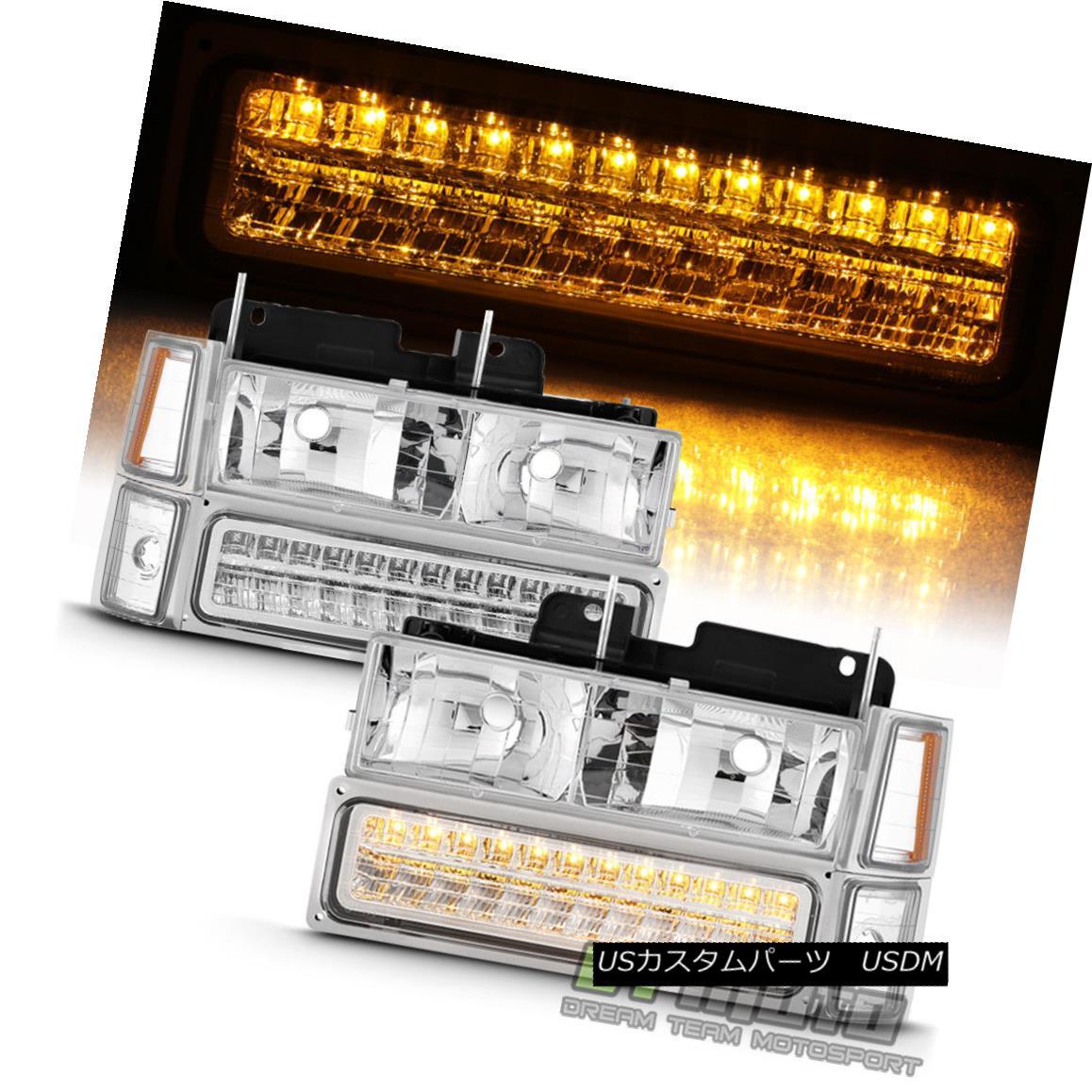 ヘッドライト 8PC 1994-1999 Chevy Silverado Tahoe Suburban Headlights+LED Bumper+Signal Lights 8PC 1994-1999 Chevy Silverado Tahoe郊外ヘッドライト+ LEDバンパー+信号灯