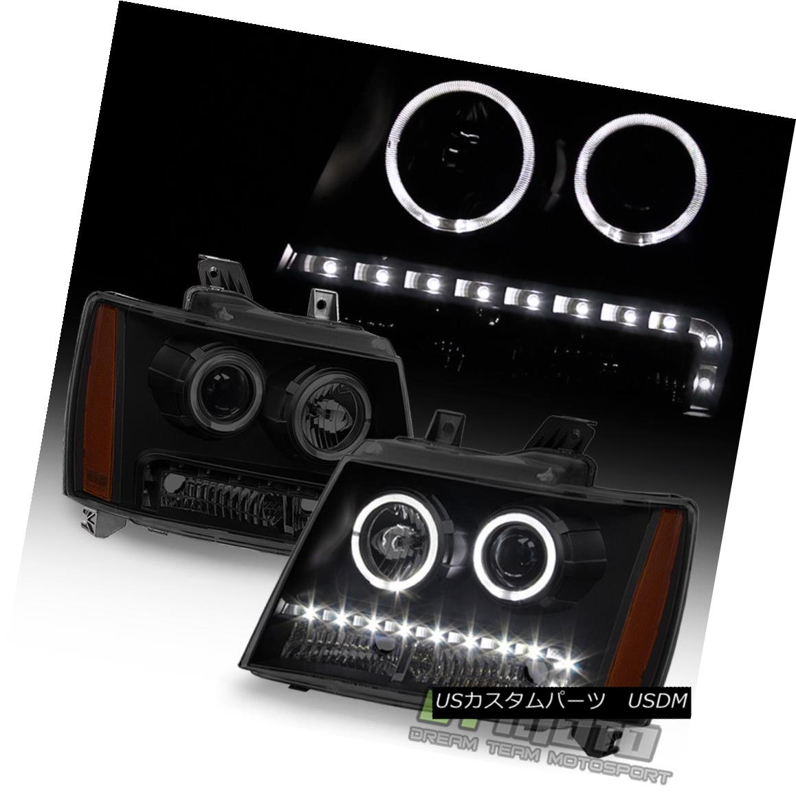 ヘッドライト Blk Smoke 2007-2013 Chevy Suburban 1500 Tahoe LED Halo DRL Projector Headlights Blk Smoke 2007-2013 Chevy Suburban 1500 Tahoe LED Halo DRLプロジェクターヘッドライト