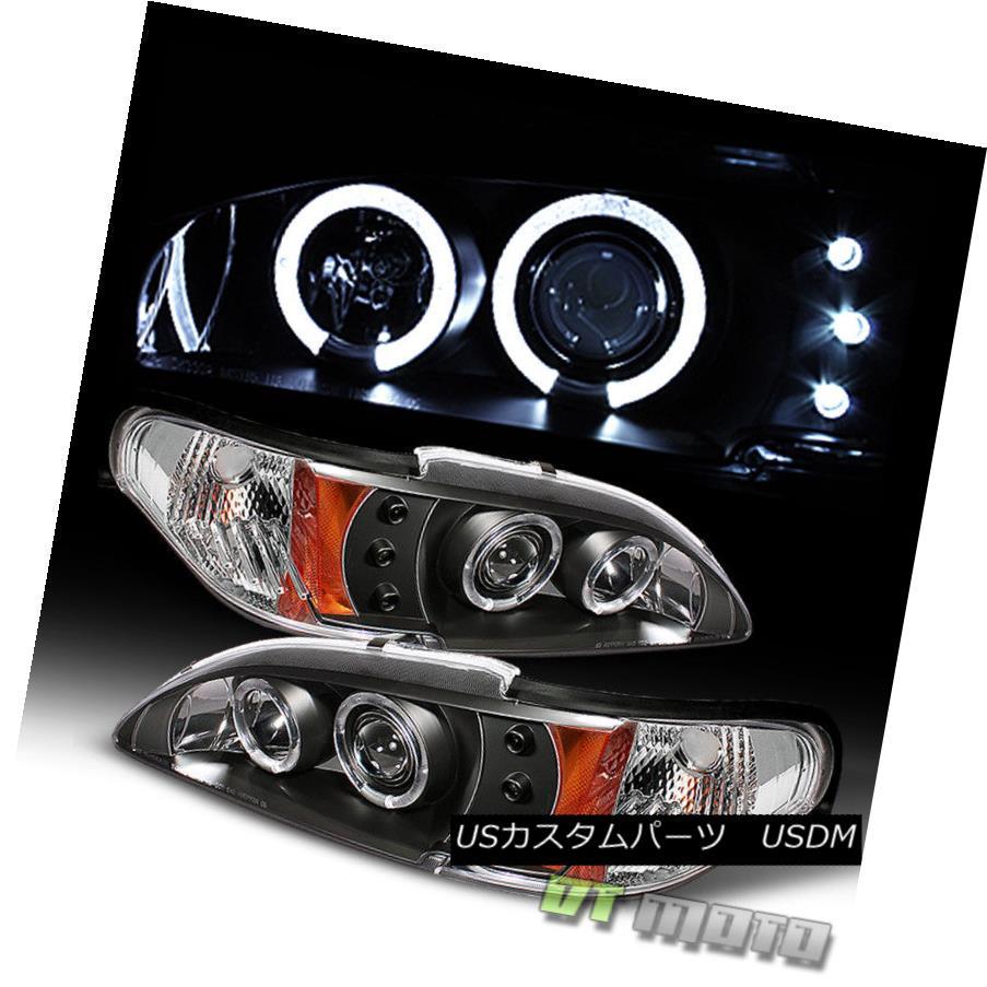 ヘッドライト Black 94-98 Ford Mustang Dual Halo Projector Led Headlights Lights Left+Right ブラック94-98フォードマスタングデュアルヘイロープロジェクターLedヘッドライトライト左+右