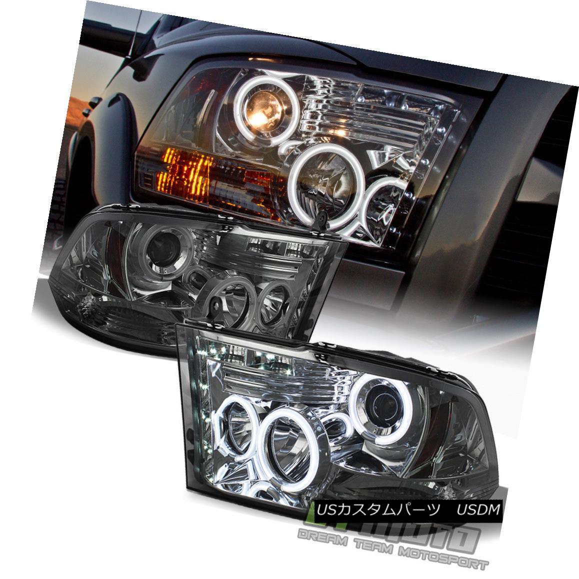 ヘッドライト Smoke 2009-2017 Dodge Ram CCFL Halo Projector Headlights w/LED DRL Running Lamps Smoke 2009-2017 Dodge Ram CCFL Haloプロジェクターヘッドライト(LED DRLランニングランプ付)